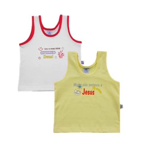 Kit 2 Camisetas Regata Com Transfer Frases Gospel
