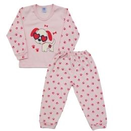 Pijama Longo Blusa com Silk e Calça Estampada